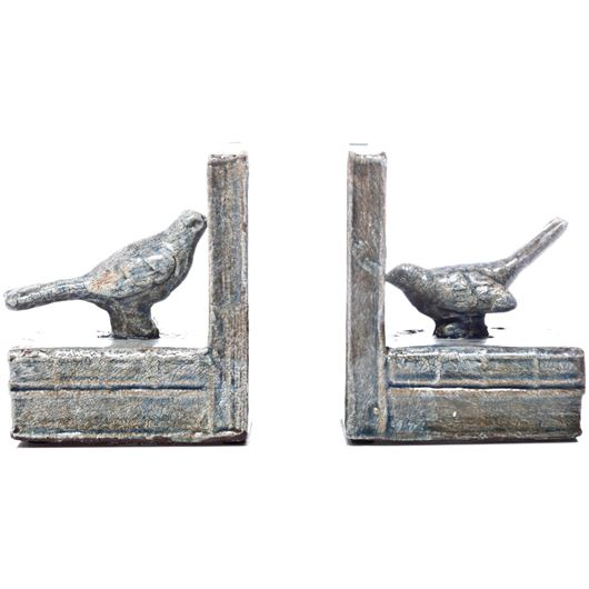 Picture of BIRD bookends h15cm set of 2 blue