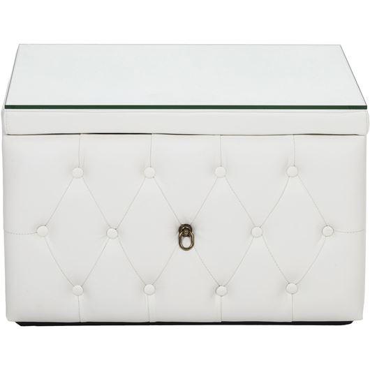 HESTOR bedside table leather white