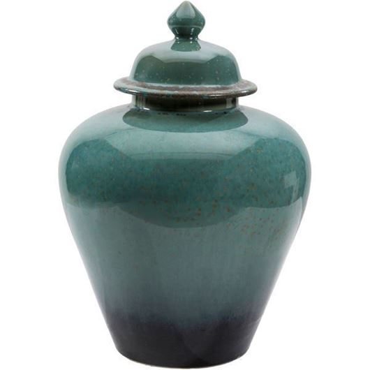 Picture of BECKA jar with lid h33cm green