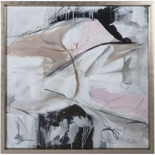Framed Print Abstract in Pink II 96x96 silver