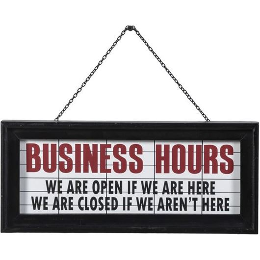Picture of BUSINESS HOURS wall decoration 36x16 black