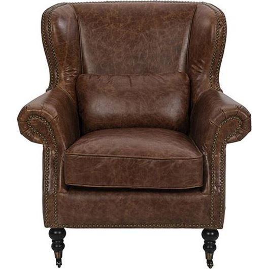 Picture of SKOL wing chair leather brown