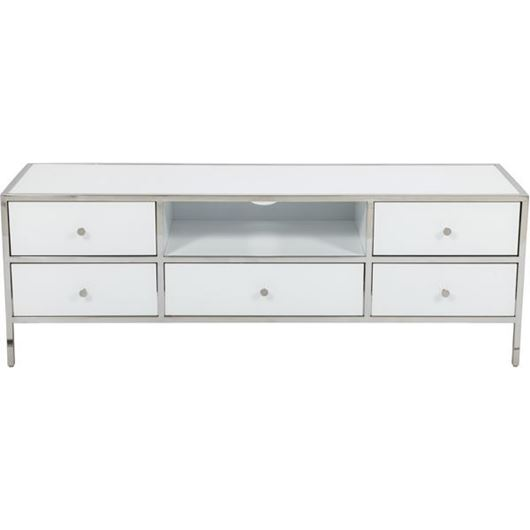 Picture of FOPP entertainment unit 55x160 white/stainless steel