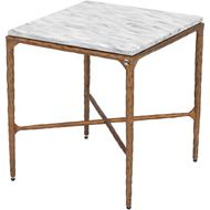 QUEEN side table 46x46 white/brass