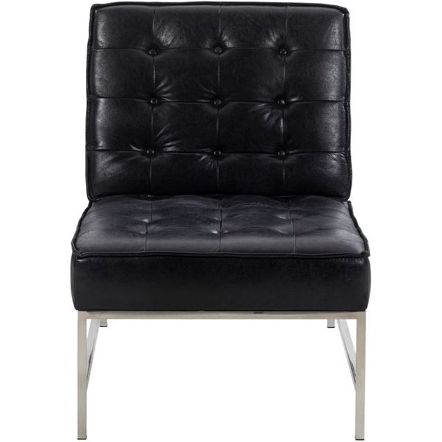 NOLD armchair leather black/stainless steel