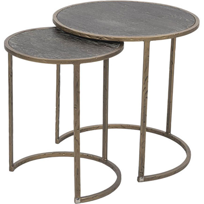 Picture of JAX nesting table set of 2 brown/brass