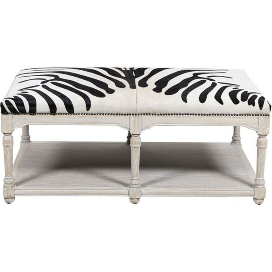 GRAND coffee table 130x79 faux leather black and white
